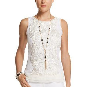 NEW WHBK SILK LACE APPLIQUE SHELL TOP size M